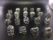 20pcs Skull Ring Punk Vintage skeleton metal zinc alloy silver mens womens mixed rings Jewelry wholesale lots bulk party gift(China)
