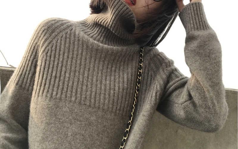 Áo Len nữ 2019 Mùa Xuân Mới Cao Cấp Cao Cổ Tay Dài Mềm Mại Cashmere Áo Len Nữ Thời Trang Ấm Chắc Chắn Đan Áo Thun Chui Đầu