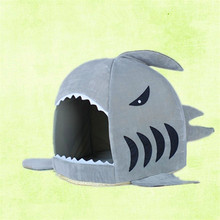 Shark Mouth Puppy Pets Dog Kitten Beds Soft Cat Dog Bed Cute Warm Litter Comfortable Beddings House Nest Fleece Litter
