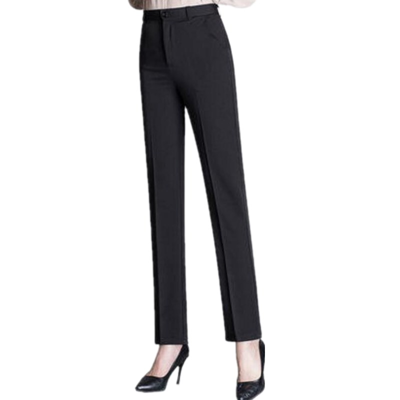 2019 Spring Women Plus Size Pants Slim High Waist Straight Pants Elegant Ol Work Wear Casual Pants Women Trousers Femme S349