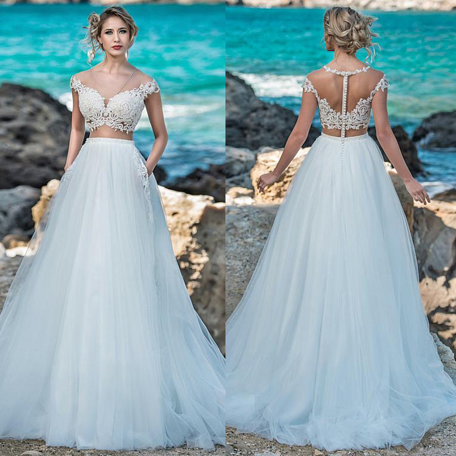 Fascinating V-neck Neckline See-through Bodice A-Line Wedding Dress With Pocket Lace Appliques Bridal Dress