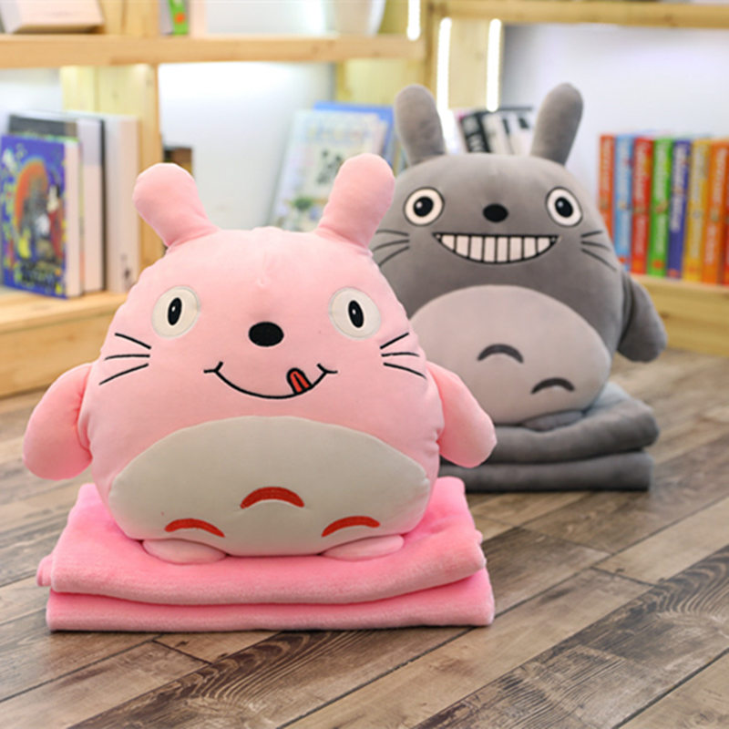1pc 45cm Kawaii Totoro Plush Pillow Stuffed Soft Down Cotton Plush Pillow Hand Warmer Blanket 3 in one Kids Gifts Girls Gifts 1pc 45cm kawaii pig plush toy stuffed cartoon hand warmer soft pillow sleeping toy for girls kids love doll cute gift for child