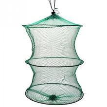 Durable 2 Layers Fishing Net Folding Fish Care Creel Tackle Portable Fishing Net 37 x 30cm