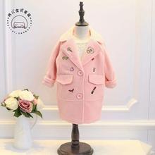 2016 Зима новый девушки пальто Корейский вышивка длинные шерстяные пальто бесплатная доставка