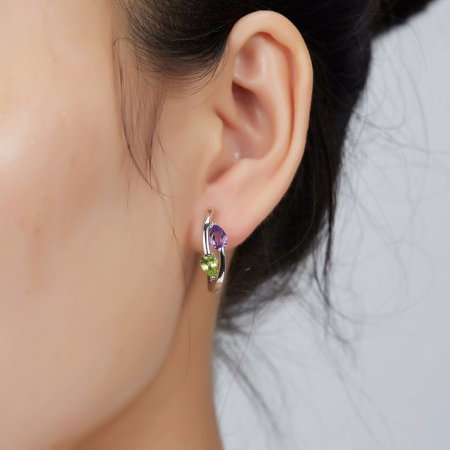Hutang Stone Clip Earrings Natural Gemstone African Amethyst Peridot 925 Sterling Silver Fine Jewelry for Women Girls Best Gift