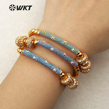 MB093 New Style Jewelry Brass Plated Beads Bracelet Micro Pave Charms Shiny Wristband For Female Bracelet Gift Wholesale