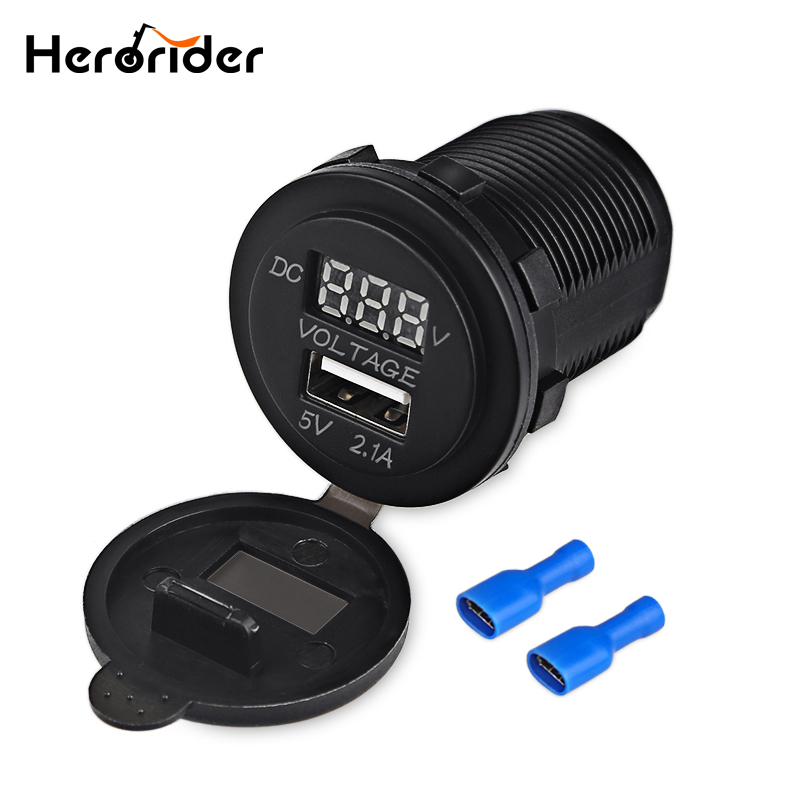 24V Dual USB Car Charger Power Outlet Socket for Car Boat Motorcycle SUV ATV Tractor LED Digital Voltmeter 12V футболка print bar ac dc rock or bust