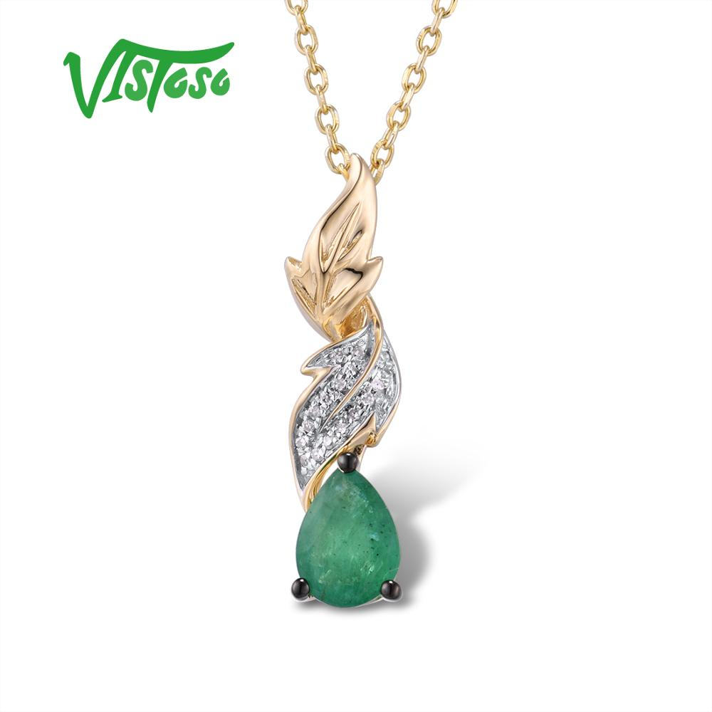 VISTOSO Oro Pendenti con gemme e perle Per Le Donne Autentico 14K 585 Oro Giallo Magia Smeraldo Diamante Scintillante Chic Collana Del Pendente Gioielleria Raffinata
