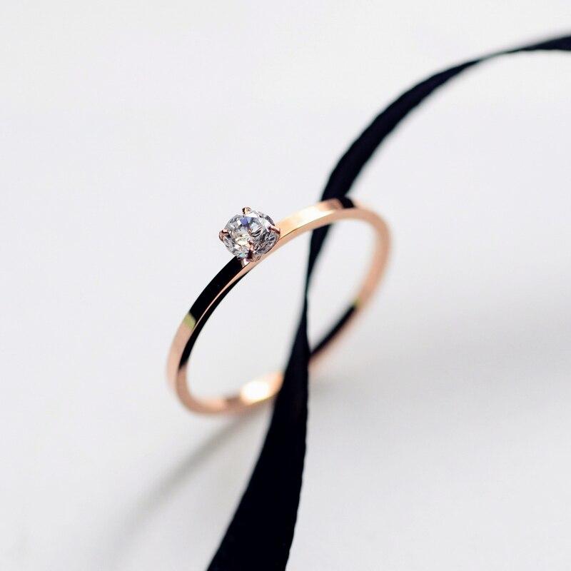 Модное простое циркониевое обручальное кольцо YUN RUO для пар, цвета розового золота, женский подарок на день рождения, ювелирные изделия из ти...