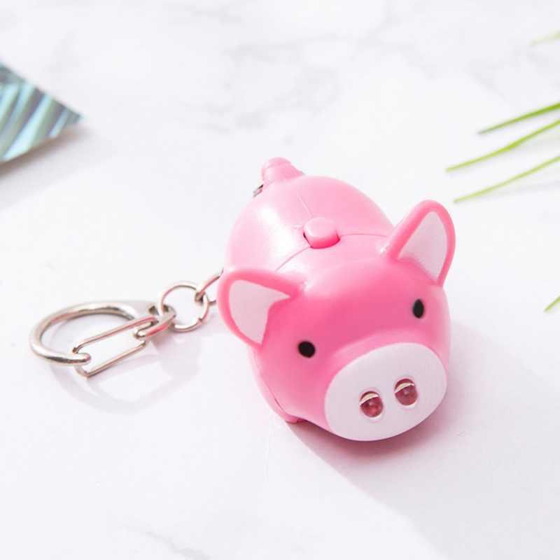 Adorável Pig Chaveiros Led Lanterna Anéis de Som Criativo Crianças Brinquedos Porco Dos Desenhos Animados de Som Luz Chaveiros Presente da Criança