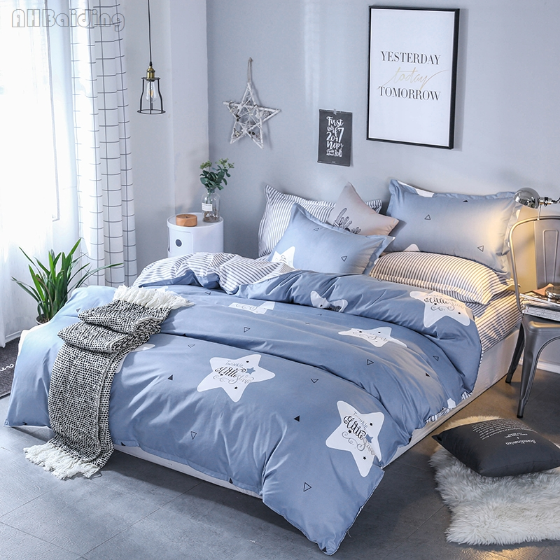 Gray Modern White Star Bedding Set High Quality Bed Linen Bedclothes Duvet Cover Set with Bed Sheet Pillowcase Queen King Size