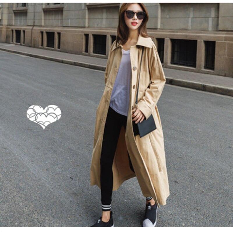 Allentato Vento Esterno Giacca 2018 Casuale Femminile Trench Di Khaki Coreano Femme Outwear Autunno Molla Fidanzato Della A Cappotto Tipo Pannello qvR1AfR