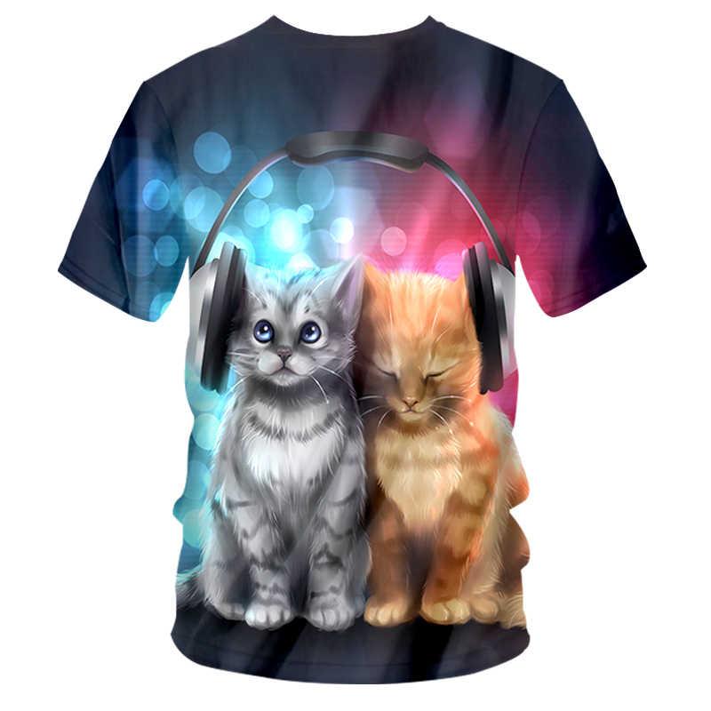 CJLM חדש מגניב 3D גברים/נשים V-צוואר חולצת טי הדפסת מוסיקה חתול קצר שרוול קיץ חולצות T חולצה זכר לנשימה אופנה קצר שרוולים