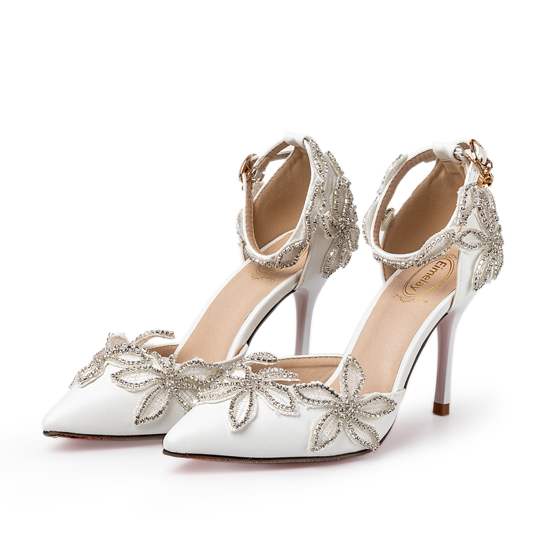 Wedding Sandals White Women Sweet Rhinestone Flowers Shoes Bride High Heels 5cm 9cm 14cm Personal Custom