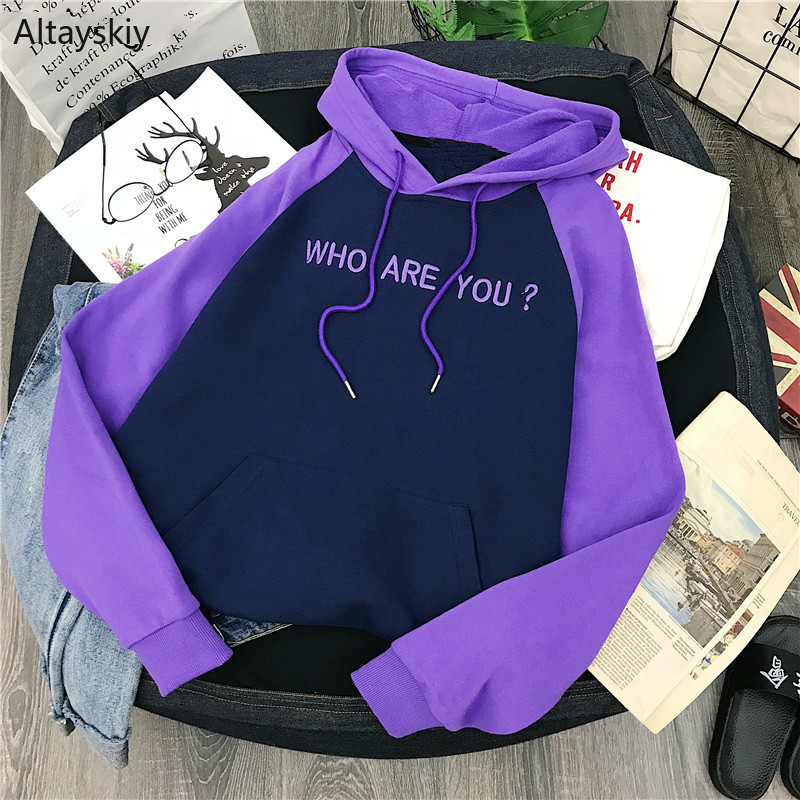 Hoodies Women Hooded Simple Letters Patchwork Korean Style Daily Soft Warm Student Sweet Purple 2019 Womens Female Lovely New