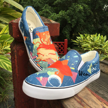 Wen Hand Painted Single Shoes Marine Animal Whale Octopus Sea World Geometry Designs Slip On Flats Unisex Canvas Sneakers