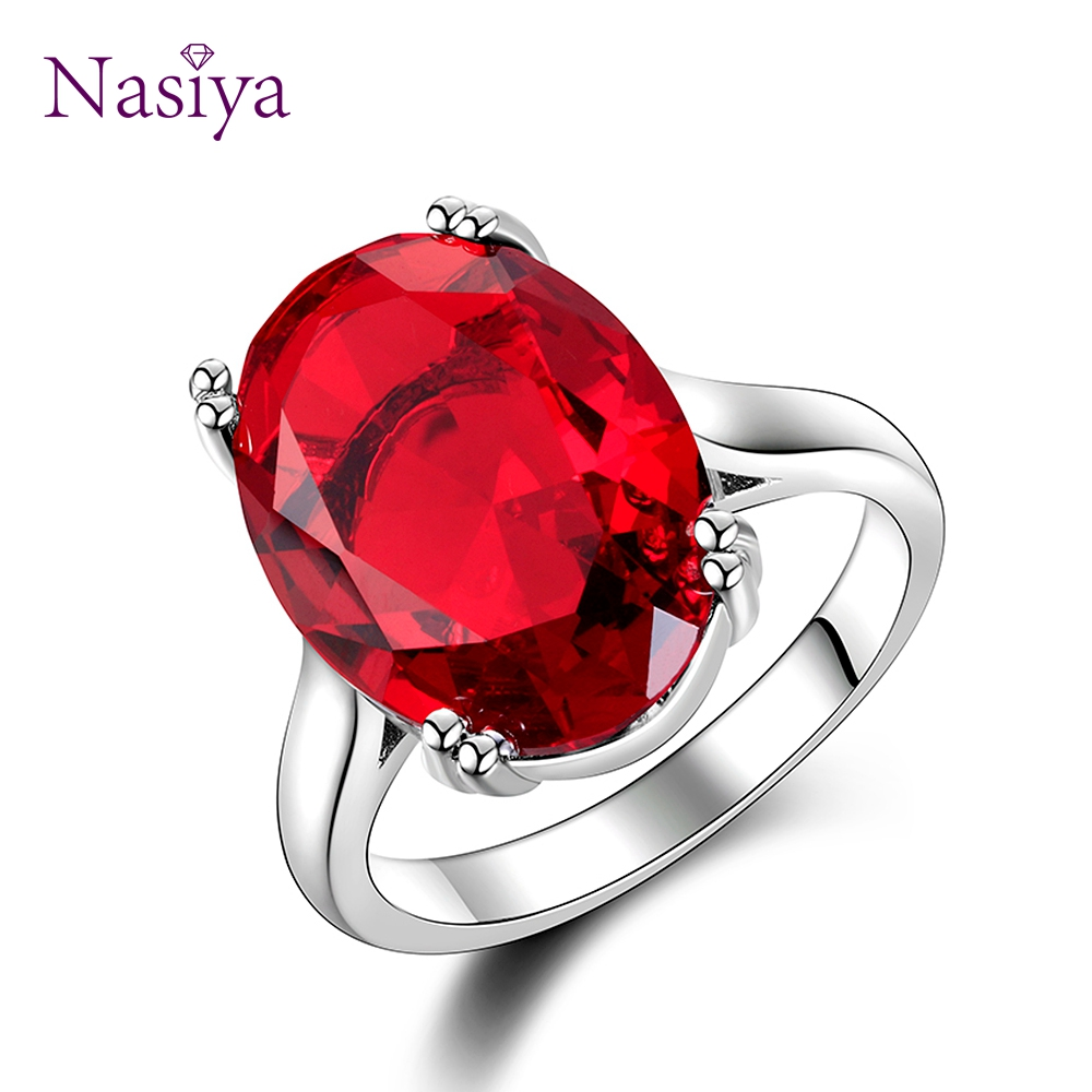 Red Ruby Oval Egg Shape Gemstone Sterling 925 Silver Wedding Rings For Women Bridal Fine Jewelry Engagement Bague Accessories