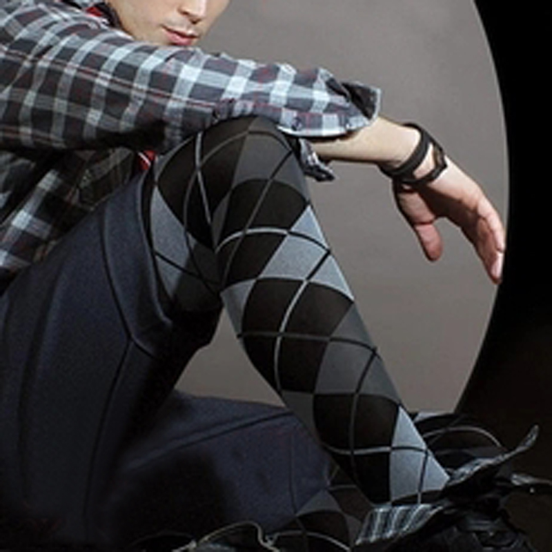 2017 Men 's Warm Pantyhose Plaid Multi-color Velure Pantyhose Nylon Men Body Stockings Mens Pantyhose Male Stocking