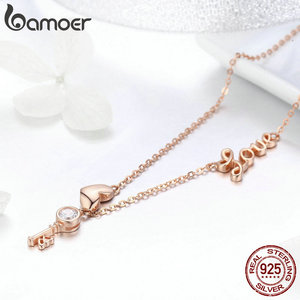 Image 4 - BAMOER 925 Sterling Silver Key Lock of Love Gold Color Necklaces Bracelets Jewelry Sets Wedding Authentic Silver Jewelry Set