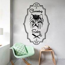 Pet Shop naklejka ścienna Dog Grooming Salon naklejki ścienne Salon piękności zwierzęta dekoracje ścienne plakat winylu do pielęgnacji zwierząt domowych naklejki z Logo RL14