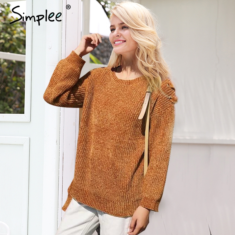 Simplee Soft chenille winter knitted sweater women O neck lace up sleeve knitting pullover femme 2017 autumn sweater pull femme