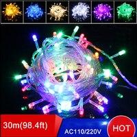 Toptan 4 adet noel işık dize 30 M 200 leds AC110V/220 V 9 renkler noel ağacı led işık tatil parti için düğün ışıkları