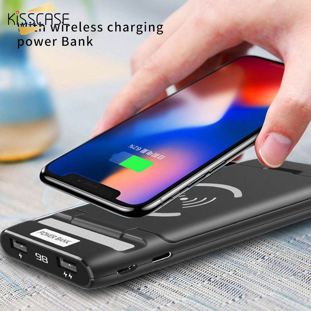 KISSCASE Universal <font><b>10000</b></font> mah Power Bank Wireless USB Charger Holder For Mobile Phone Fast Charging Powerbank For iPhone <font><b>7</b></font> 8 X 6 image