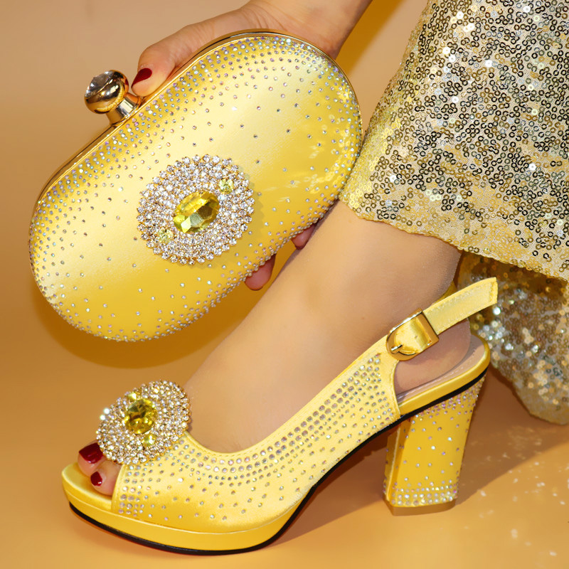 New Arrival Luxury Shoes Women Designers Italian Shoes and Bags Set Decorated with Rhinestone Nigerian Women Party Shoe with Bag