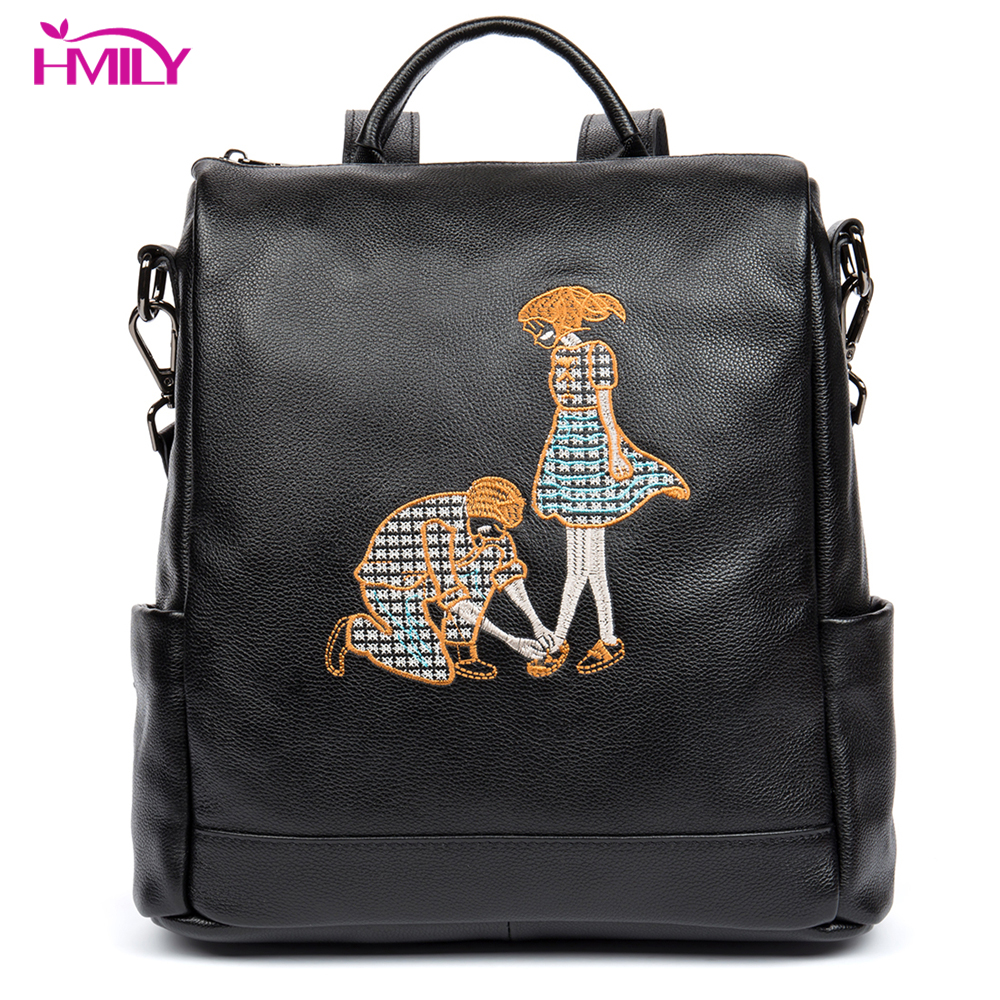 HMILY Women Backpack Genuine Leather Female Shoulder Bag Natural Leather Daily Women Bag Black Color Backpack Ladies цена 2017