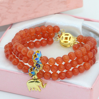High quality gift new unique clasps 3rows orange cat eyes 6mm round beads multilayer bracelets for women jewelry 7.5inch B2778