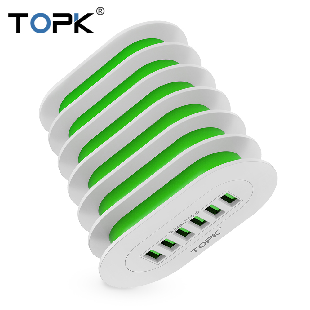 TOPK 5 v 7A 6-יציאות שולחן העבודה USB טעינה רב-יציאת תחנת Dock Stand האיחוד האירופי תקע אוניברסלי טלפון מטען עבור מספר מכשירים