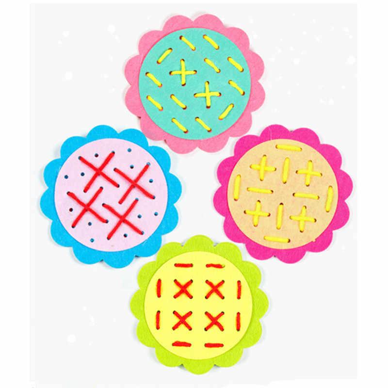 16 ซม.เส้นผ่าศูนย์กลางดอกทานตะวัน Non-ทอด้ายเจาะสวม Laces ช่วยสอนเด็กขั้นพื้นฐานการฝึกอบรมทักษะของเล่นปริศนาเกม