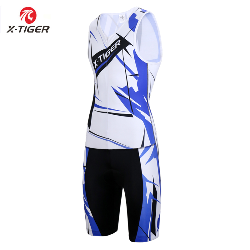 X Tiger Brand Triathlon Sleeveless Cycling Jersey Compression Sponge Padding Breathable MTB Road Bike Clothing Ropa