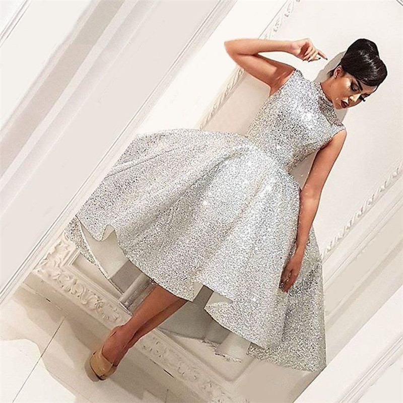 Bling Muslim Evening Dresses 2019 Ball Gown Tea Length Seuqins Islamic Dubai Saudi Arabic Long Formal Evening Gown Prom Dress
