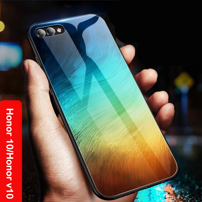 new concept 75cba 93095 US $8.27 31% OFF|Aixuan Glass case For huawei Honor V10 View 10 Huawei  Honor 10 case painted Tempered Glass Silicon Protective full cover Cases-in  ...