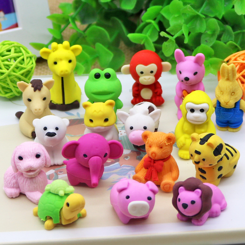50pcs Kawaii Rubber Eraser Cute Animals Detachable Erasers For Kids School Student Pencil Stationary Supplies Gift Items Goma