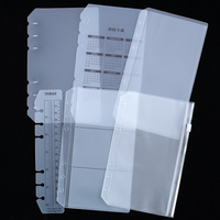 PVC Accessory Set Storage Card Bag For A5 A6 Spiral Notebook Zipper Bill Pocket Insert Loose