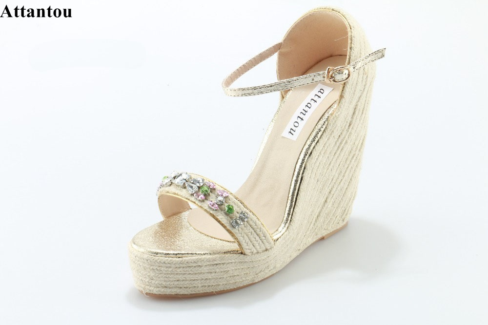 Moda Weave Sandálias Heeld Fivela Estilo Elegante Colorido de Cristal Vara Vestido Cunha Sandálias Da Moda Plataforma DressShoe