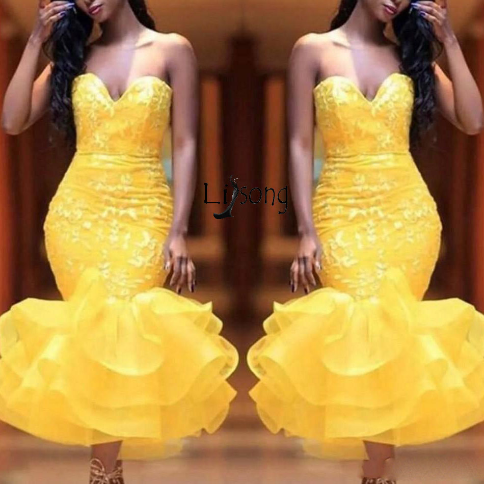 Yellow Sweetheart   Prom     Dresses   Lace Appliques Organza Ruffles Mermaid Evening   Dress   Abendkleider Tea Length Africa Formal Wear