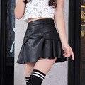 Envío de la nueva alta cintura flare falda skater mini falda por encima de la rodilla de cuero de alta calidad de color sólido falda s/m/l/xl/2xl
