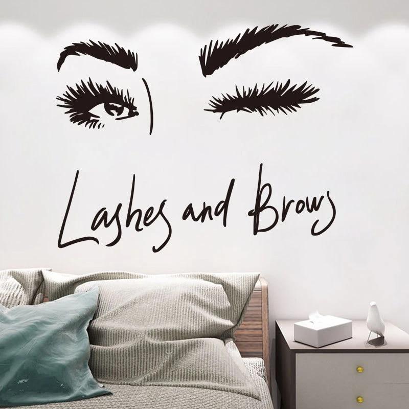 New Women S Eyes Wink Eyelash 30 X9 Black Vinyl Wall Art Decor Decal Sticker Decor Decals Stickers Vinyl Art Home Garden