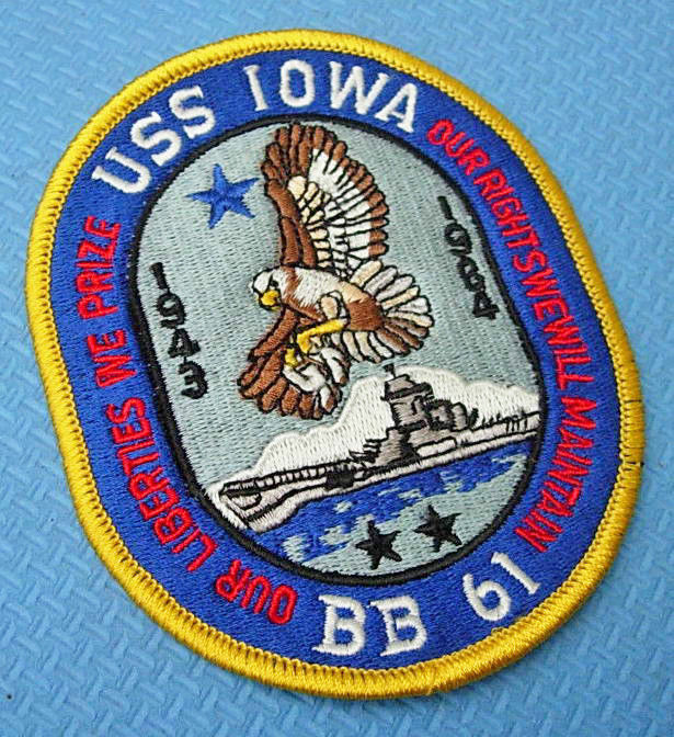 USS Iowa BB-61 Battleship Embroidered Patches Collectible Badge Patch Mens Arm Backpack Bag Appliques Collection Accessories