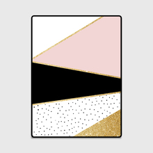 Fashion Modern Nordic Geometric Pink Black Golden Line Polka Dots Door Mat Living Room Bedroom Parlor