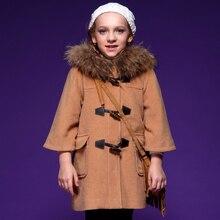 Зимние пальто для девочек модный дизайн пальто девушки толстые верхняя одежда вспышка рукав с капюшоном воротник верхняя одежда 4C0572