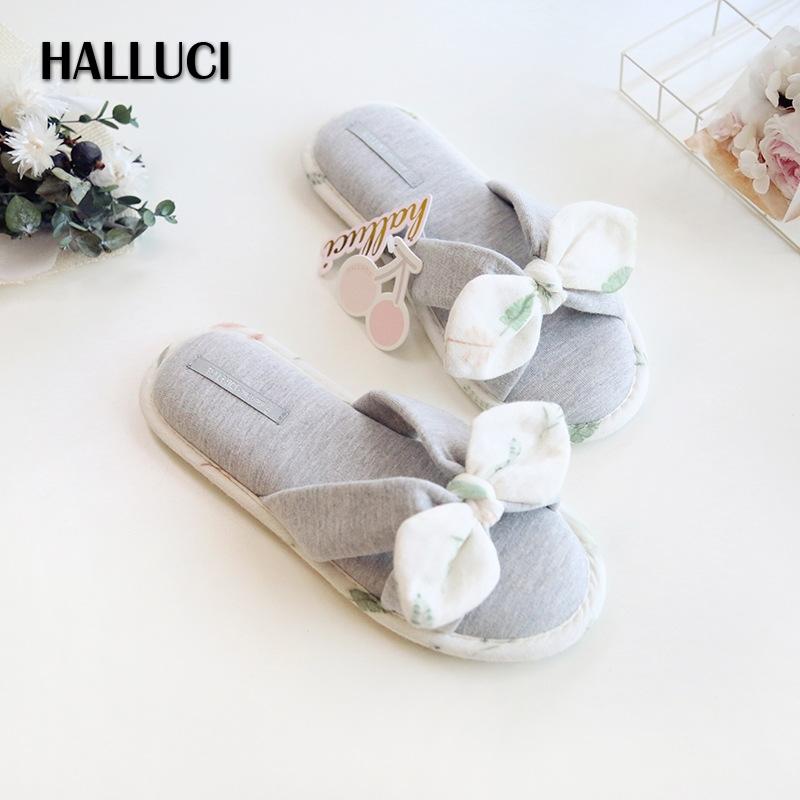 HALLUCI bowknot shoes woman slippers simple bathroom sandals lovely slides cotton peep toe home slipper indoor shoes women halluci breathable sweet cotton candy color home slippers women shoes princess pink slides flip flops mules bedroom slippers