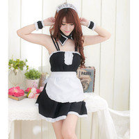 Plus size Sexy French Exotic Apparel Maid Costume Black White Fantasy Women Sexy Lingerie Lolita Uniform Sexy Servant Cosplay