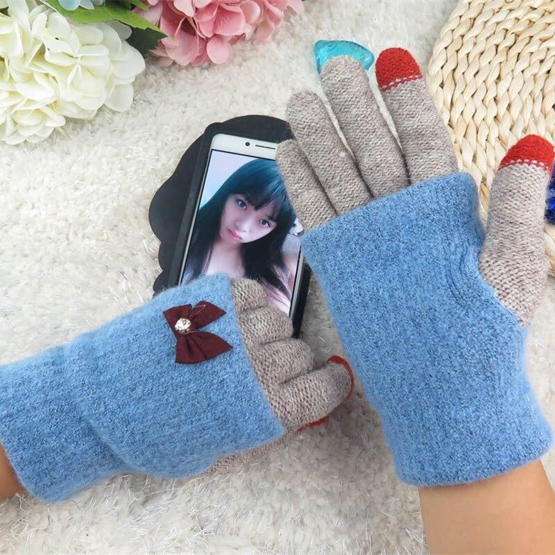 2016 разнообразные цвета женские зимние теплые перчатки интеллектуального сенсорного экрана женские шерсть зимой держать теплые перчатки