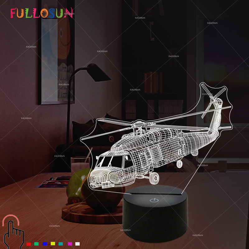 Helicopter 3D Light LED Colorful Change USB Desk Lamp Sitting Room 3D Night Light Touch Control Air Plane Lamp
