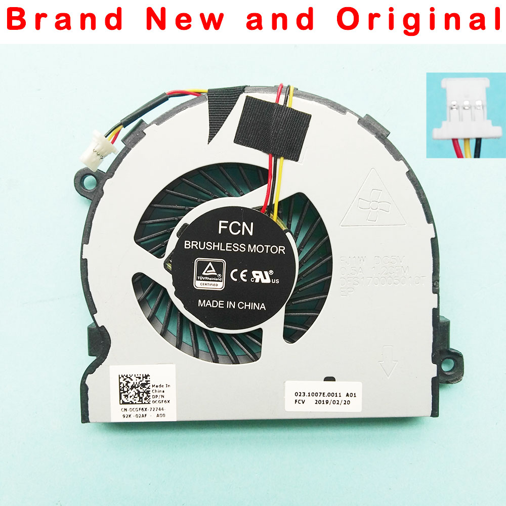New cpu original ventilador de refrigeração cooler para Dell Vostro 15-3568 15 3568 DFS170005010T FJ1W DC5V 0.5a 0CGF6X CGF6X