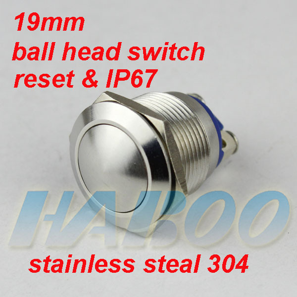 HABOO EP19 series 1pcs packing ball head anti-vandal push button switch pcb type 1NO 3A 250V waterproof switch IP67